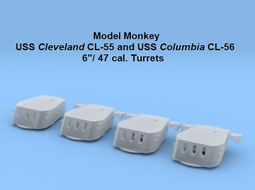 "1/192 USS Cleveland CL-55 and USS Columbia CL-56 6""/47 cal. Turrets"