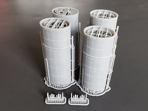 1/200 Titanic Funnels, with exterior pipes and triple whistles