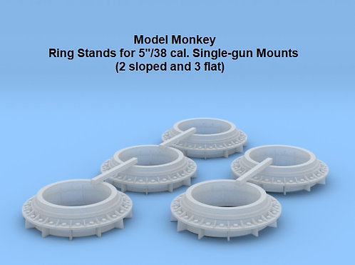 """1/128 Ring Stands for 5""""/38 cal. Single-gun Mounts (5)"""