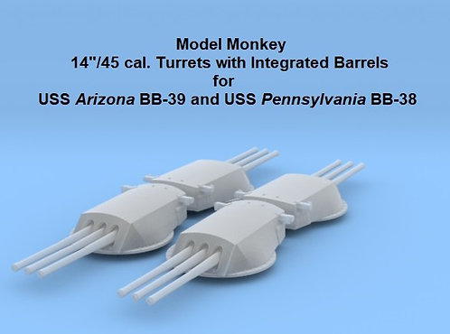 1/720 USS Arizona BB-39 Turrets with integrated barrels