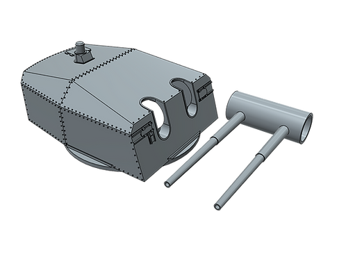 1/96 Bismarck, Tirpitz, Scharnhorst and Gneisenau 15 cm Turret with bar