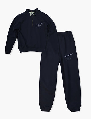 COLLECTION NAVY ZIP NECK SET