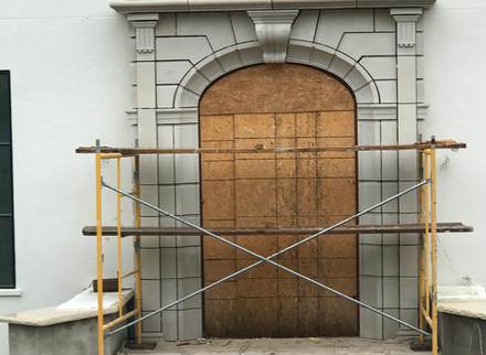 Custom stone entrance way