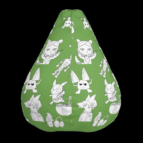 Volume I Green/White All-Over Print Bean Bag Chair COVER