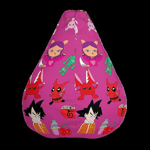 Volume I Fuschia/Colorful All-Over Print Bean Bag Chair Cover