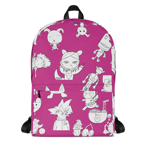 Fuschia All-Over Print Backpack