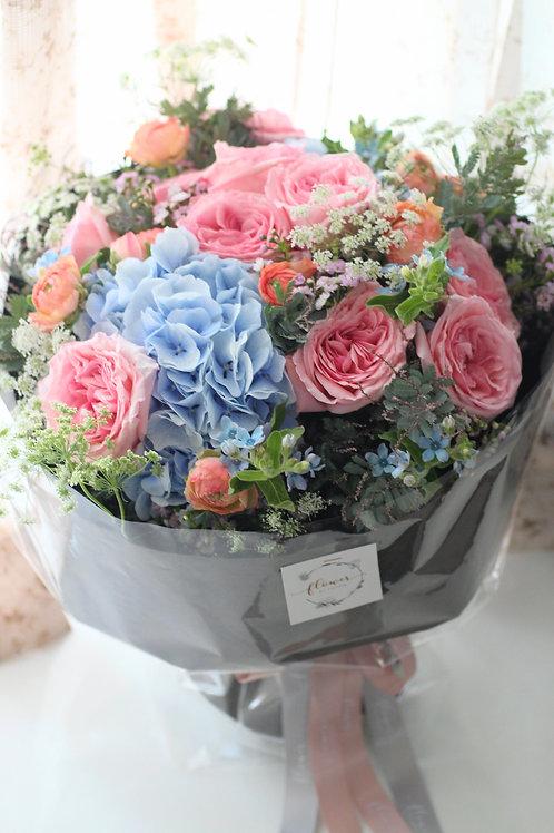 Blue hydgrand & pink o'hara