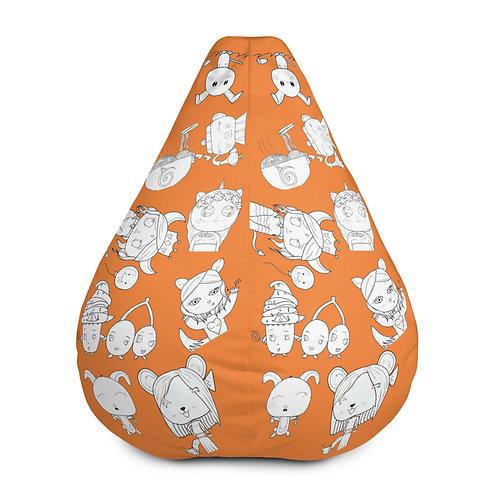 #RockysArt - Orange/White All-Over Print Bean Bag Chair COVER