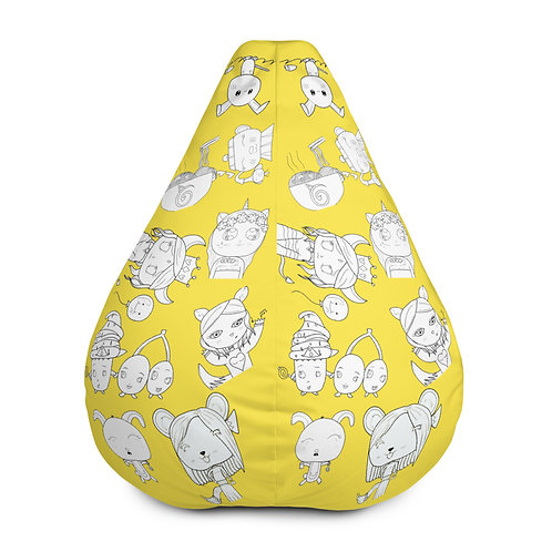 #RockysArt - Yellow/White All-Over Print Bean Bag Chair COVER