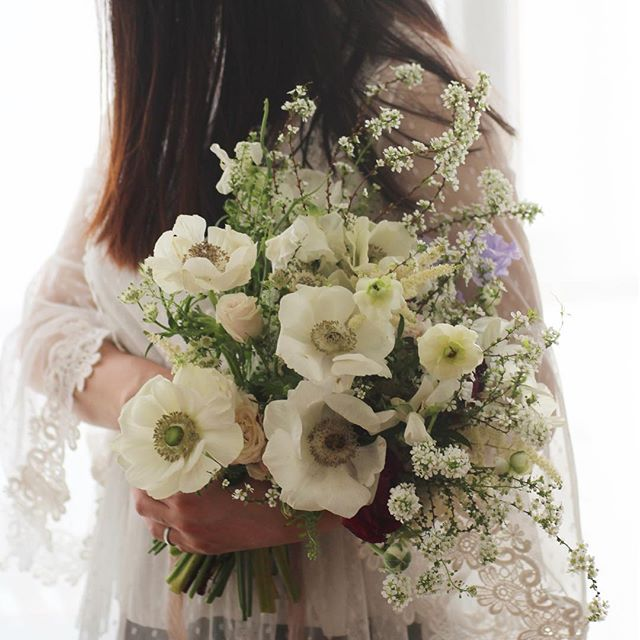 All white 🕊_#anemone#anemonebouquet#bri