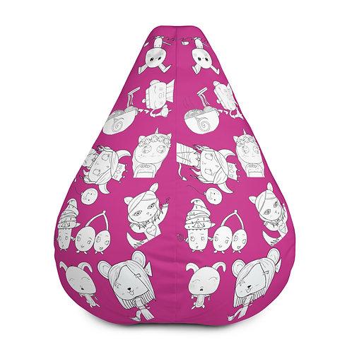 #RockysArt - Fuschia/White All-Over Print Bean Bag Chair COVER