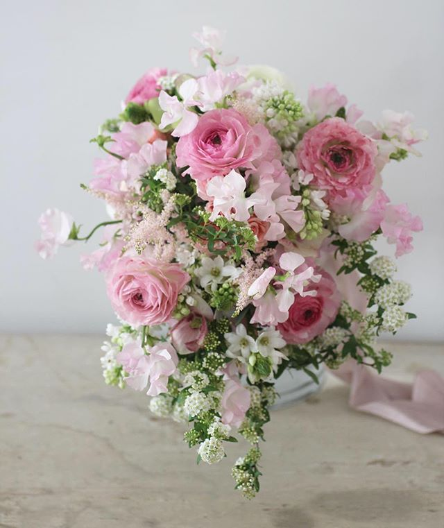 Garden feel cascade bridal bouquet_