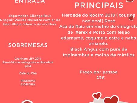 A Noite de São Valentim está chegando!  Já fez reserva no Lisboa é Linda?