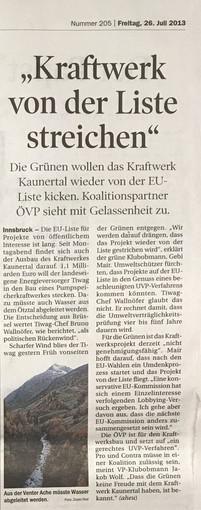 Tiroler Tageszeitung 26.07.2013