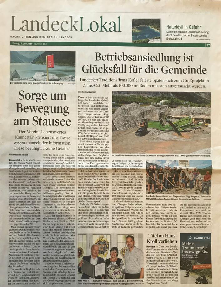 Tiroler Tageszeitung 05.07.2019