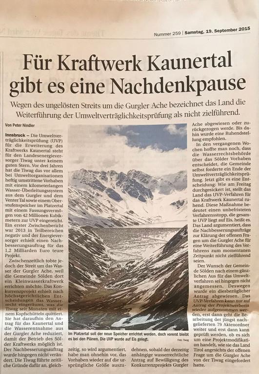 Tiroler Tageszeitung 19.09.2015