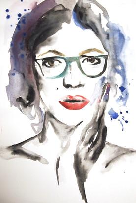 Die hübsche Brillenschlange. Eine Aquarell-Zeichnung, zur kreativen Wandgestaltung.