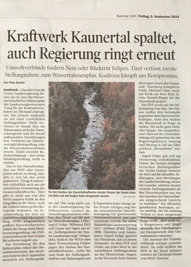 Tiroler Tageszeitung 05.09.2014