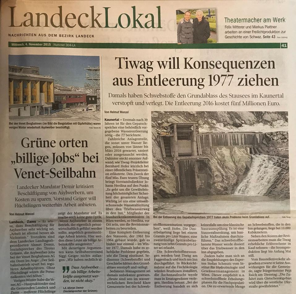 Tiroler Tageszeitung 04.11.2015