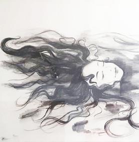 Mermaid. Eine Bleistift-Zeichnung, zur kreativen Wandgestaltung.