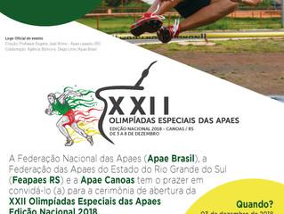 XXII OLIMPÍADAS ESPECIAIS DAS APAES