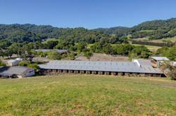 Caldecott's barn and rolling hills