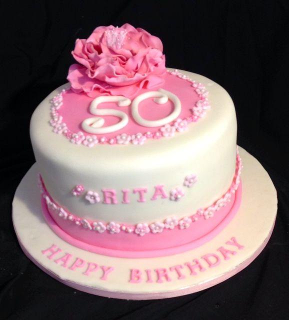 Pretty birtrhday cake with flower