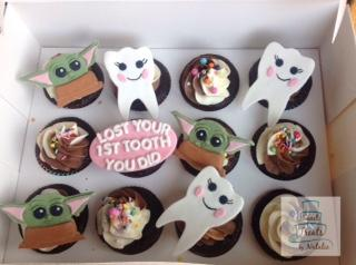 Tooth and Baby Yoda cupcake toppers