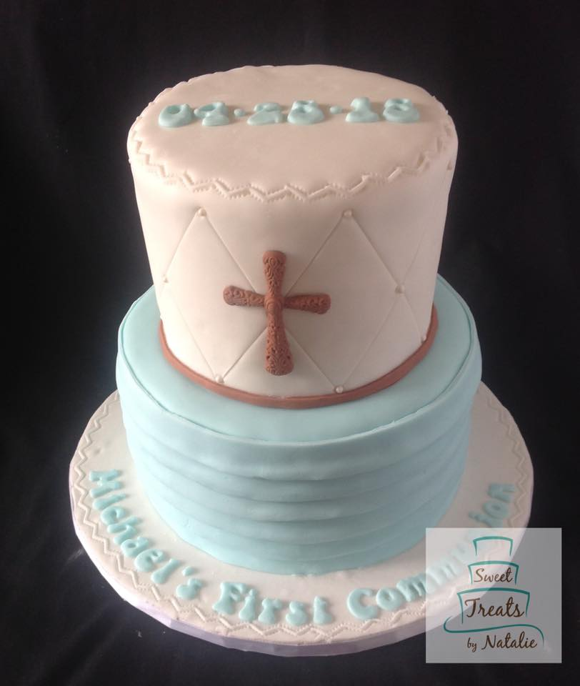 Light blue & brown Communion cake