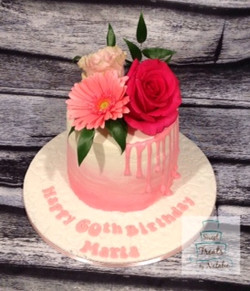 Pink ombre with real flowers