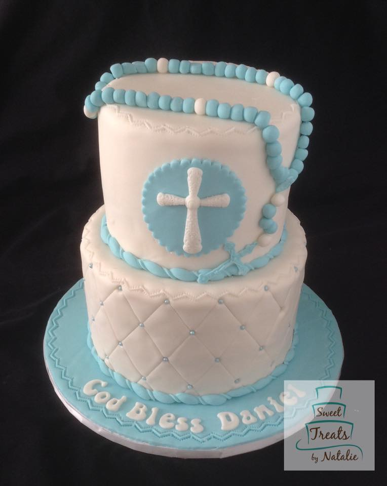 Light blue accents with rosary