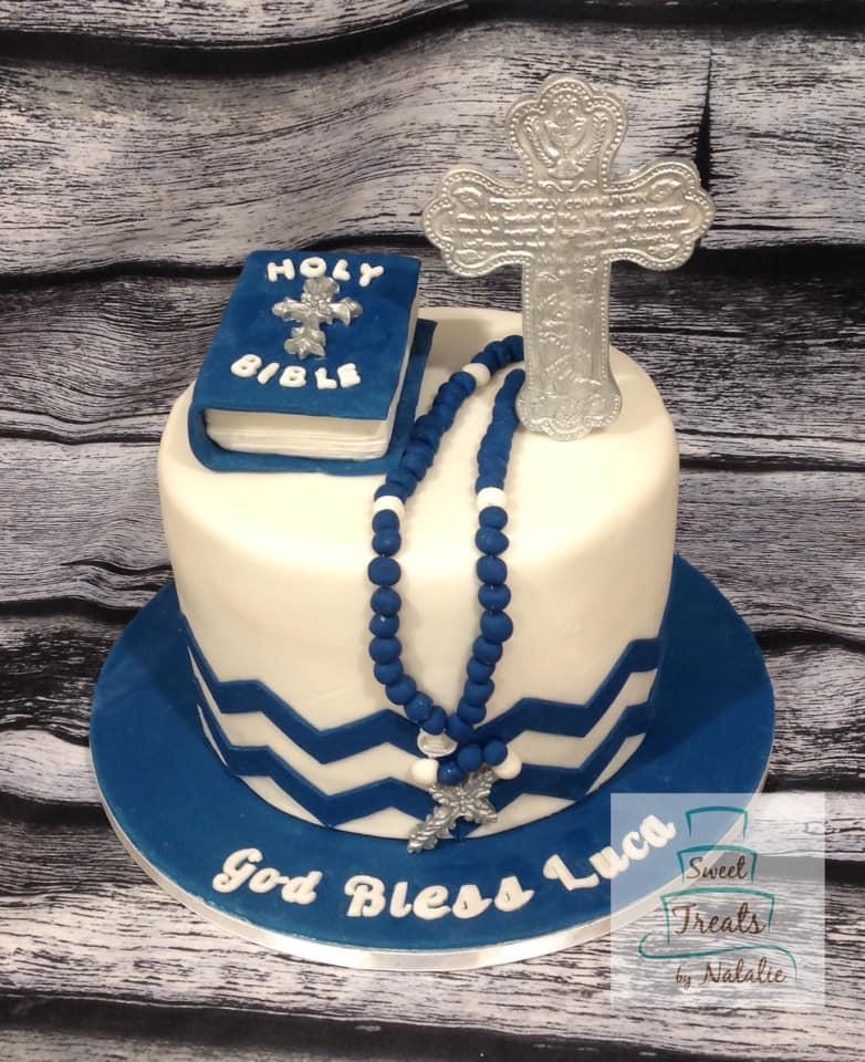 Blue Chevron First Communion cake