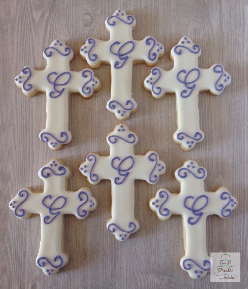 Purple monogram crosses