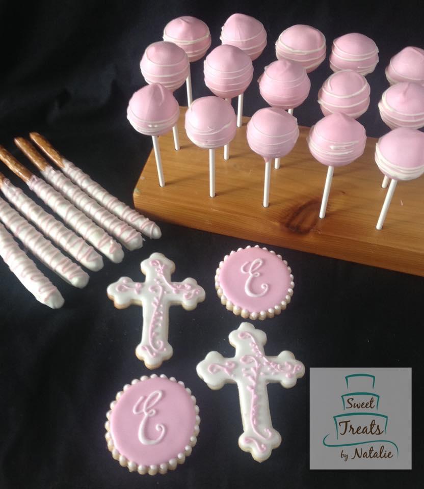 Pink cross & monogram cookies