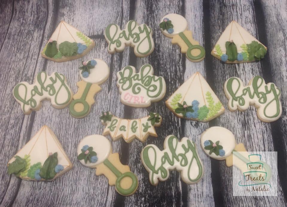 Succulent Baby Shower cookies