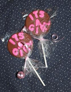 """It's A Girl"" chocolate lollipops"