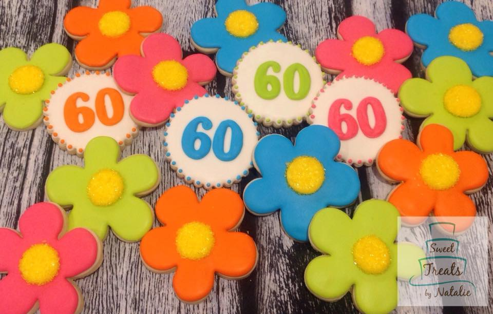 Bright 60th birthday cookies
