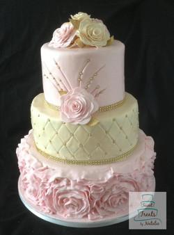 Pink & beige wedding cake