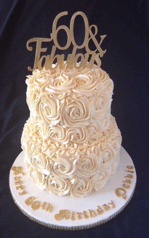 Buttercream rosettes cake