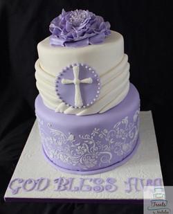 Purple First Communion cake