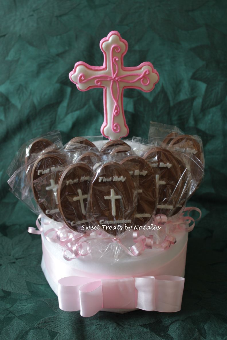 First Communion chocolate lollipops