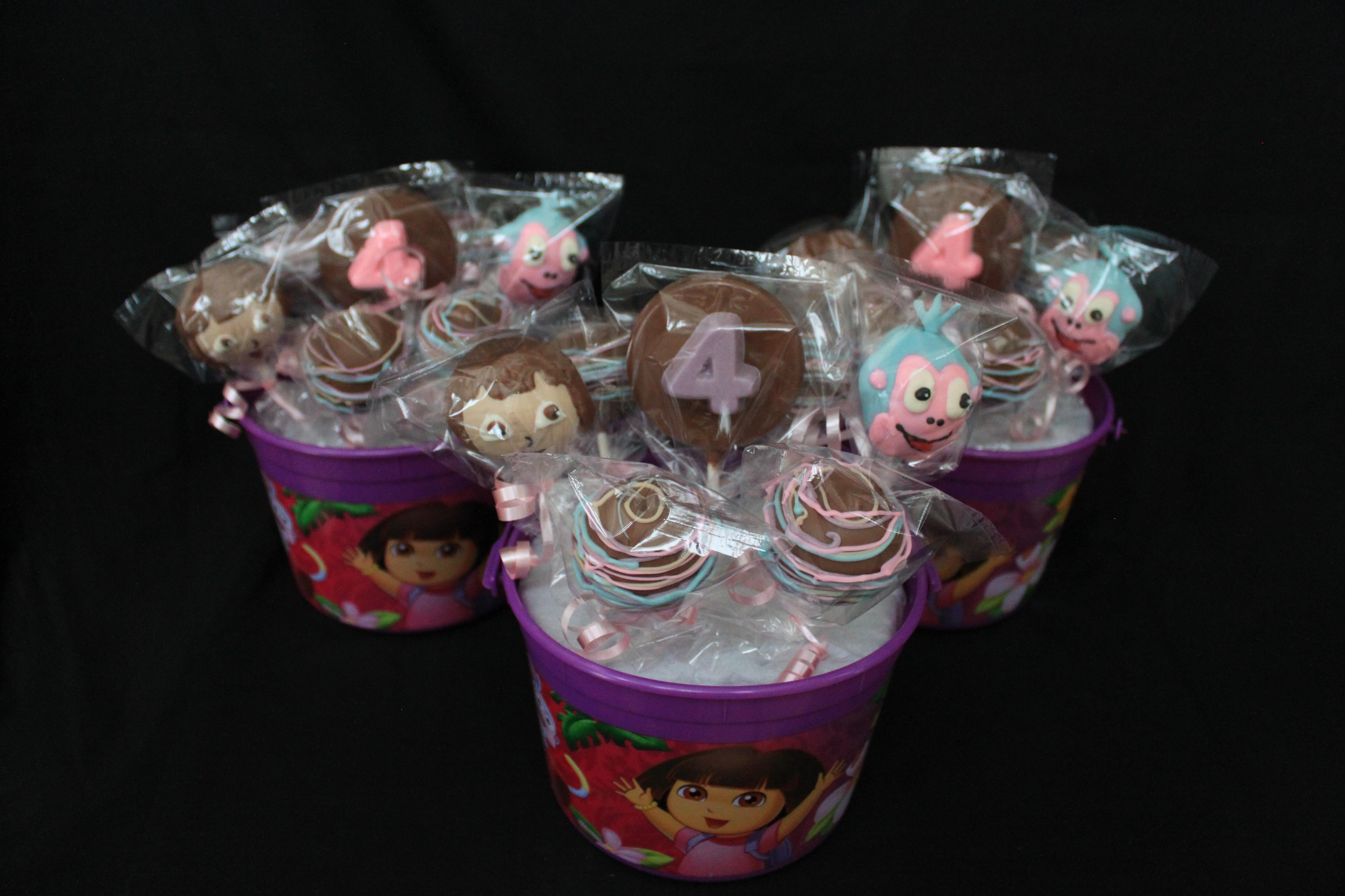 Dora & Boots cake pops