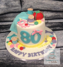 Sewing themed cake
