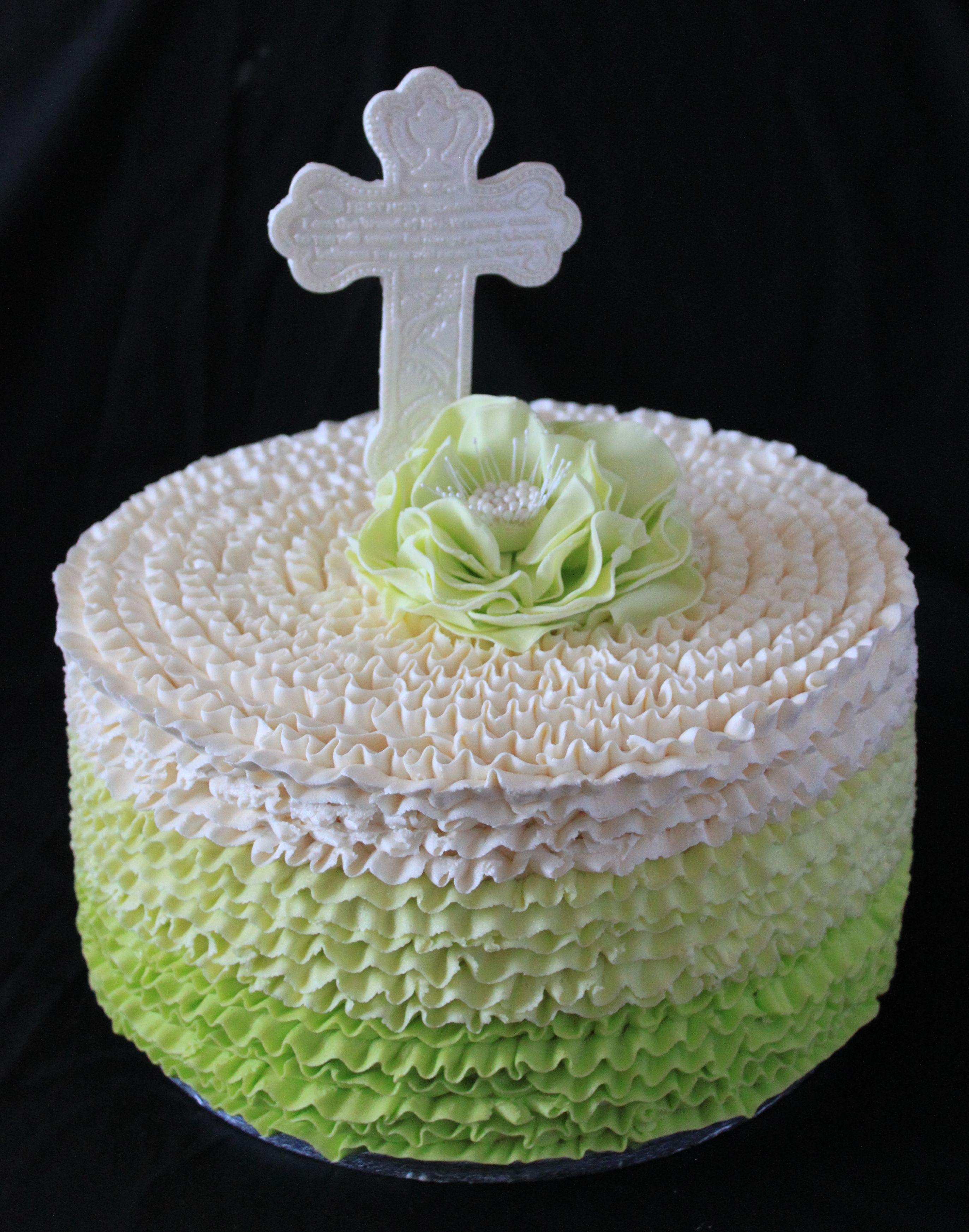 Green buttercream First Communion