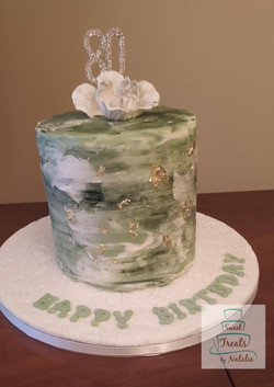 Buttercream Green Watercolour cake