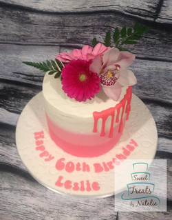 Buttercream with real flowers topper