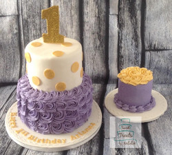 Purple rosette and gold accents