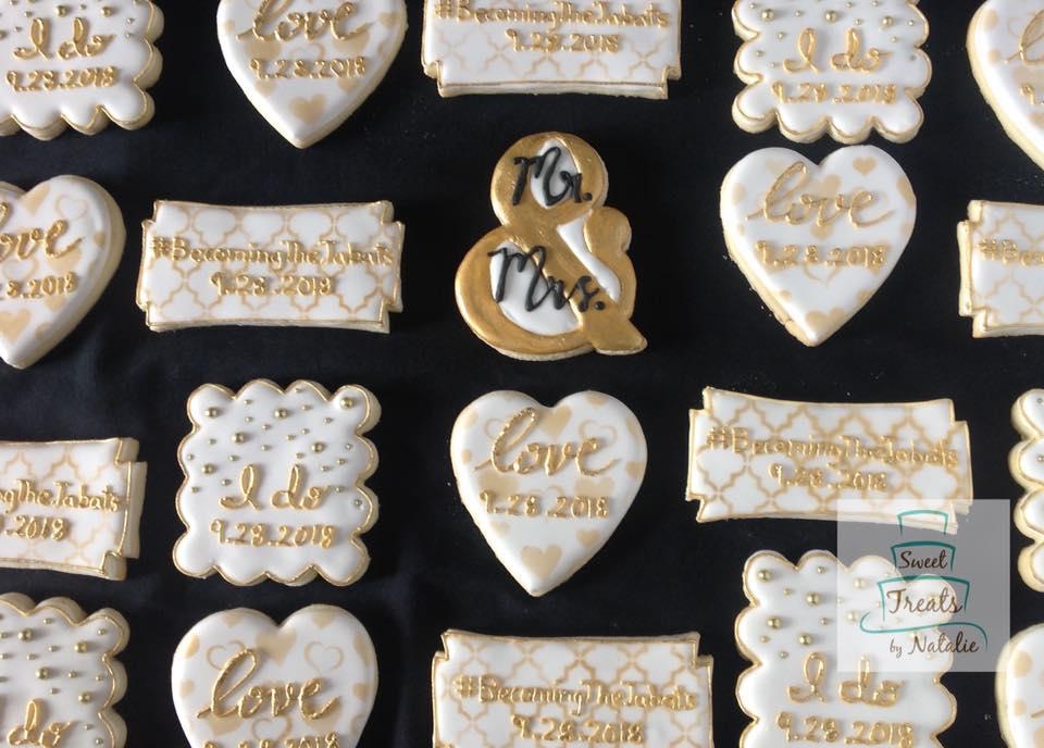 Gold wedding cookies