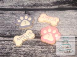 Dog paw and bone cookies