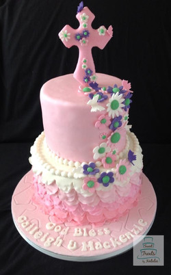 Pink ombre ruffle with flowers